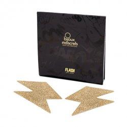 Naklejki na sutki - Bijoux Indiscrets Flash Bolt Gold Złota Błyskawica