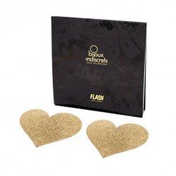 Naklejki na sutki - Bijoux Indiscrets Flash Heart Gold Złote Serce