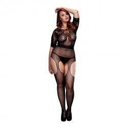 Bodystocking - Baci Crotchless Suspender Bodystocking Queen Size