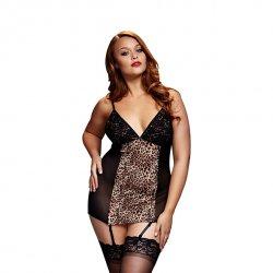 Koszulka - Baci Leopard Basque & Garter Stays No Panty Queen Size