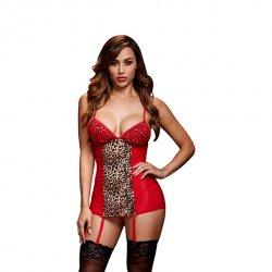 Koszulka - Baci Red Basque & Garter Stays No Panty One Size