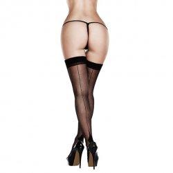 Pończochy - Baci Sheer Cuban Heel Thigh Highs Queen Size